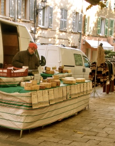 The formidable cheese seller at the Plan de la Tour market